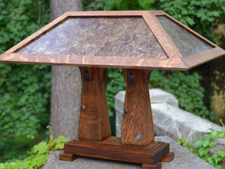 Mission Style Double Pedestal Table Lamp